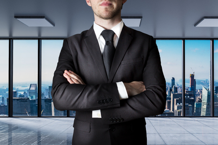 businessman crossed arms in modern office with skyline view 3D Illustration Stock Photo