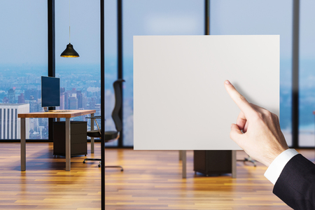 businessman finger pointing at blank billboard in large clean office 3D illustration