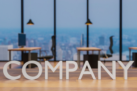 company logo on clean wooden desk in modern office with skyline view 3d rendering 版權商用圖片