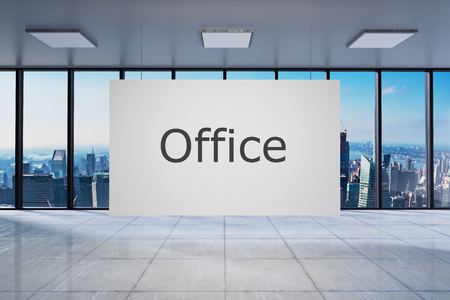 White poster in large modern empty office with skyline view 3D Illustration 版權商用圖片