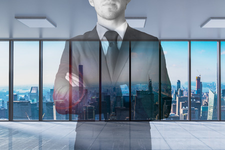 businessman crossed arms in modern office with skyline view 3D Illustration Standard-Bild - 116295074