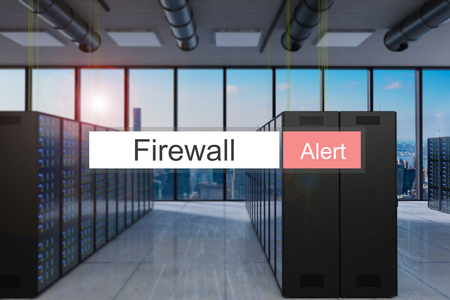 Firewall alert red search bar large modern server room skyline view, 3D Illustration Stock Photo