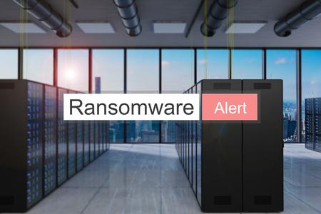 ransomware alert red search bar large modern server room skyline view, 3D Illustration