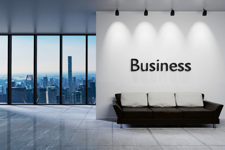 Modern clean office waiting area reception with skyline view, white wall with business lettering, 3D Illustration