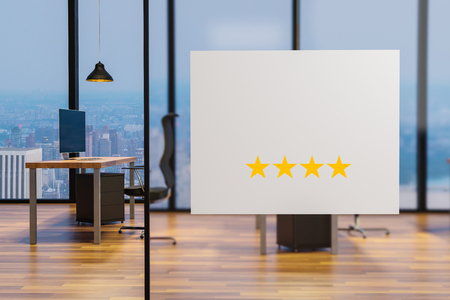 white billboard on glass wall in clean office workplace, four star rating, 3D illustration 版權商用圖片
