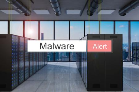 malware alert in red search bar modern server room skyline view, 3D Illustration 版權商用圖片