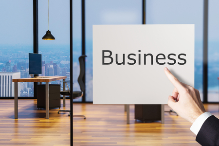 businessman finger pointing at billboard in clean office workplace business, 3D illustration 版權商用圖片