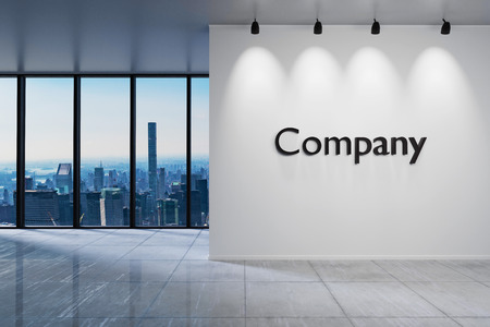 Modern clean office waiting area reception skyline view, wall with company lettering, 3D Illustration 版權商用圖片
