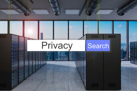 privacy search in blue search bar modern server room skyline view, 3D Illustration