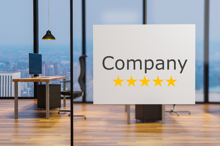 white billboard on glass wall in  clean office workplace, five star rating, 3D illustration 版權商用圖片