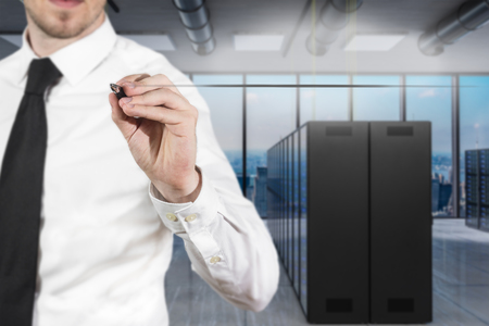 businessman in server room writing firewall in the air, 3D Illustration