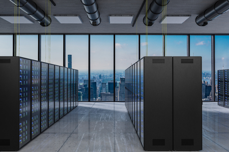 large modern server room with skyline view large windows, 3D Illustration