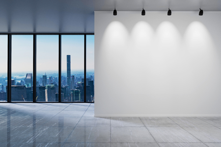large office with blank white wall in front of panoramic window skyline, 3D Illustration Stock Photo