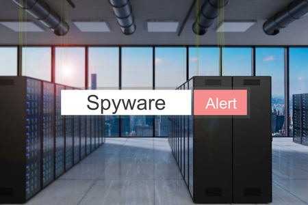 spyware alert in red search bar modern server room skyline view, 3D Illustration