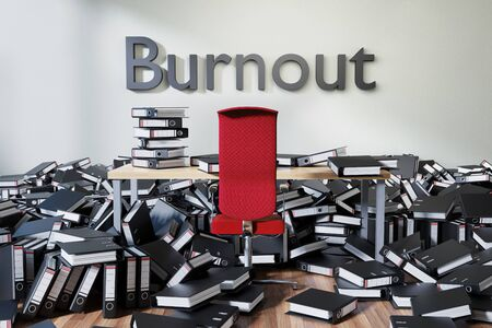 office workspace with large chaotic pile of document ring binders and paperwork, burnout conceptual 3D Illustration
