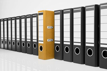 large row of black office folders with one golden binder, conceptual archive 3D Illustration Stok Fotoğraf - 131817196