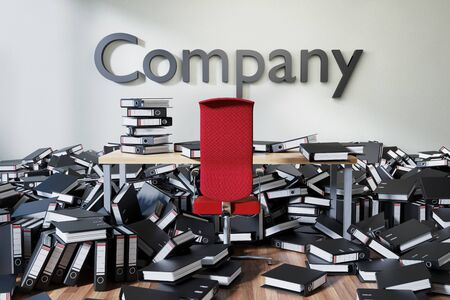 office workspace with large chaotic pile of document ring binders paperwork, company conceptual 3D Illustration