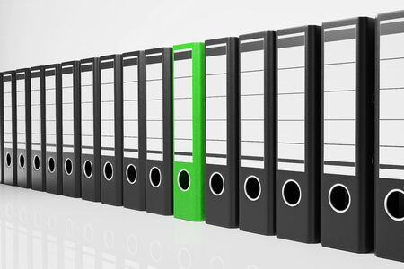 large row black office folders with one green binder, conceptual archive 3D Illustration Stok Fotoğraf