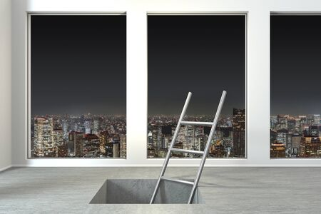 ladder in square hole in large modern office with skyline view nighttime, conceptual 3D Illustration Stok Fotoğraf