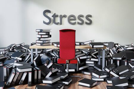 office workspace with large chaotic pile of document ring binders and paperwork, stress conceptual 3D Illustration Stockfoto