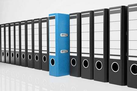 large row of black office folders with one blue binder, conceptual archive 3D Illustration Stock Photo