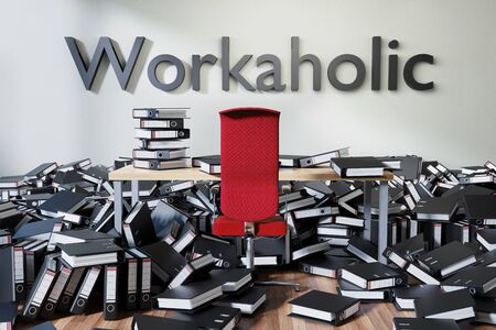 office workspace with large chaotic pile of document ring binders paperwork, workaholic conceptual 3D Illustration Stockfoto - 131818560
