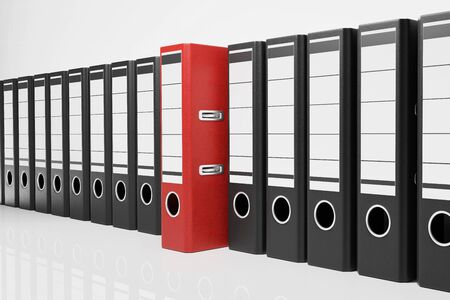 large row of black office folders one red binder, conceptual archive 3D Illustration Stock Photo