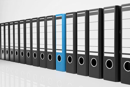 large row black office folders with one blue binder, conceptual archive 3D Illustration
