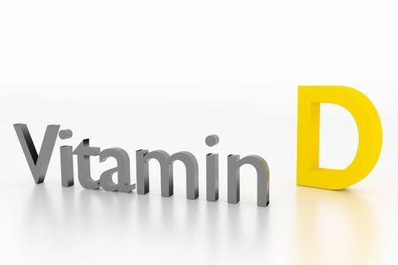 Vitamin D-Zeichen weiße saubere Oberfläche, 3D-Illustration