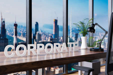 business; office chair in front of workspace and panoramic skyline view; corporate concept; 3D Illustration
