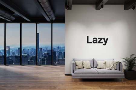 luxury loft with skyline view and vintage couch, wall with lazy lettering, 3D Illustration