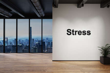 luxury loft with skyline view and wall with stress lettering, 3D Illustration