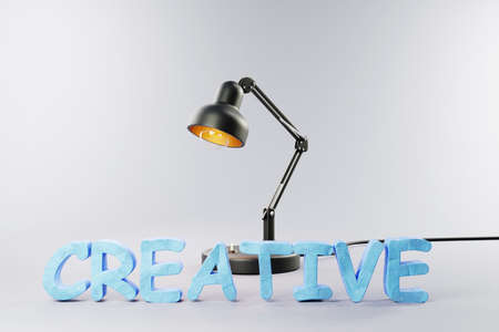 industry style desk lamp on grey colored surface with clay stylized lettering creative; concept 3D artist design; 3D Illustration