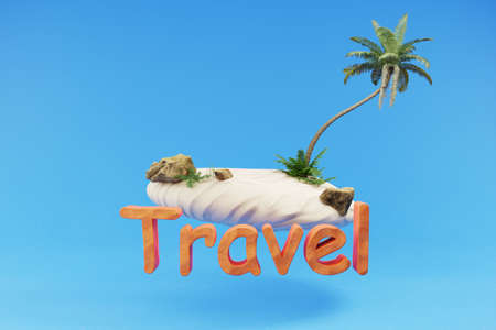stylized lonely tropical island with palmtree hovering; holiday travel tourism concept; 3D Illustration
