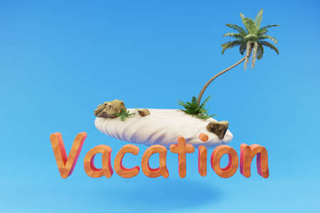 stylized lonely tropical island with palmtree hovering; holiday travel vacation concept; 3D Illustration