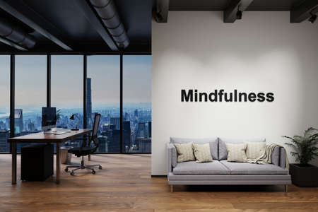 luxury loft with skyline view and vintage couch and pc workspace, wall with mindfulness lettering, 3D Illustration