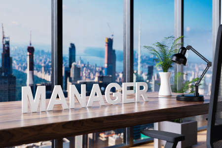 manager; office chair in front of workspace and panoramic skyline view; manager concept; 3D Illustration