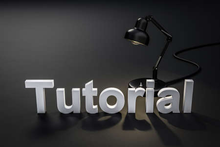 black style desk lamp on dark black colored surface with lettering tutorial; concept 3D online tutorial; 3D Illustration