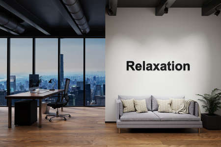 luxury loft with skyline view and vintage couch and pc workspace, wall with relaxation lettering, 3D Illustration