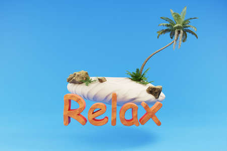 stylized lonely tropical island with palmtree hovering; holiday travel relax concept; 3D Illustration