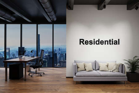 luxury loft with skyline view and vintage couch and pc workspace, wall with residential lettering, 3D Illustration Stock Photo
