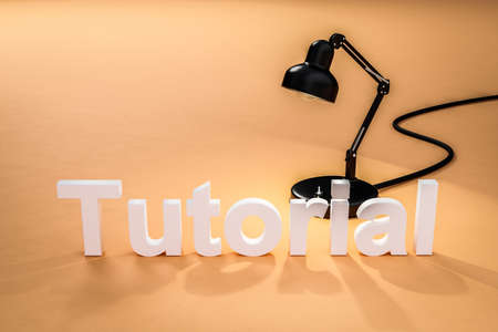 industry style desk lamp on dark orange colored surface with lettering tutorial; concept 3D online tutorial; 3D Illustration