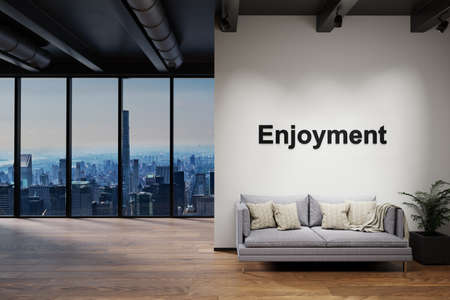 luxury loft with skyline view and vintage couch, wall with enjoyment lettering, 3D Illustration Stock Photo