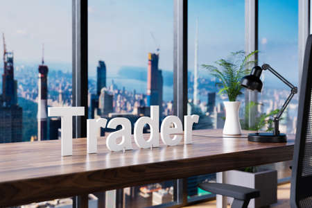 trader; office chair in front of workspace and panoramic skyline view; banking investment concept; 3D Illustration Stock Photo