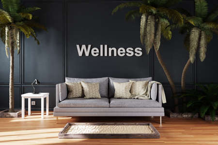 living room interior with single vintage sofa between large palm trees; wellness; 3D Illustration Stock Photo