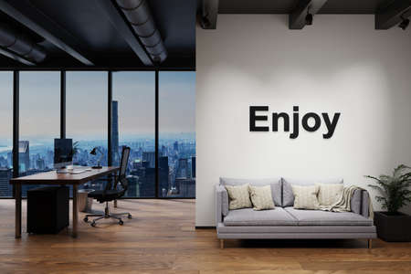 luxury loft with skyline view and vintage couch and pc workspace, wall with enjoy lettering, 3D Illustration