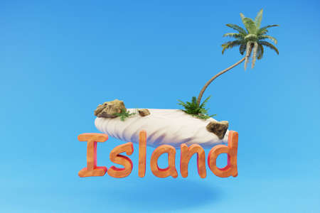 stylized lonely tropical island with palmtree hovering; holiday travel island concept; 3D Illustration