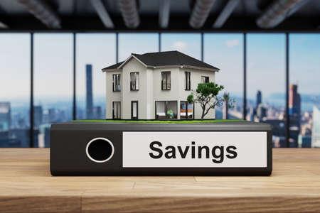 house villa style standing folder on wooden desk in modern office, savings label, 3D Illustration