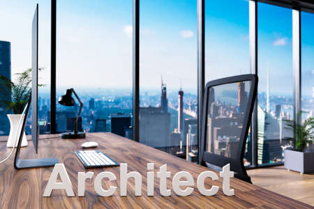 architect; office chair in front of workspace with computer and skyline view; architect concept; 3D Illustration Stock Photo