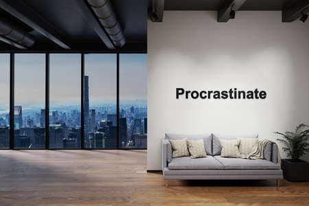 luxury loft with skyline view and vintage couch, wall with procrastinate lettering, 3D Illustration